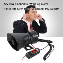 12V 60W 5 Sound Car Warning Alarm Police Fire Siren Horn Loud PA Speaker MIC System(China)