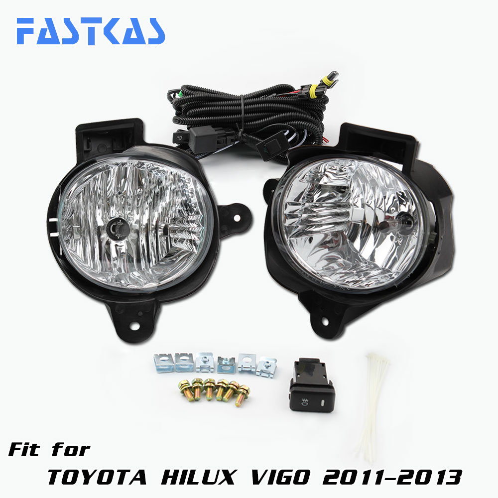 12v Car Fog Light Assembly for Toyota Hilux Vigo 2011-2013 Front Left and Right set Fog Light Lamp with Harness Relay<br>