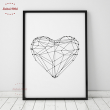 900D Geometric Heart Shape Canvas Art Print Painting Poster, Wall Pictures for Home Decoration, Wall Art Decor FA153(China)