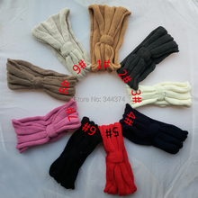 Wholesale 30 piece / lot 2014 new  winter knit bowknot headbands for women solid crochet head bands with button 9 color in stock