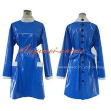 Free Shipping Sissy Maid Blue Pvc Smock Uniform Apron Dress Cosplay Costume Tailor-made