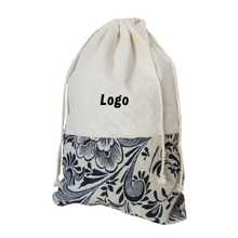 Unique Patchwork Storage Drawstring Bag Custom Logo Printing Shoe Bag Promotional Gifts Cotton Linen Draw String bags Wholesale