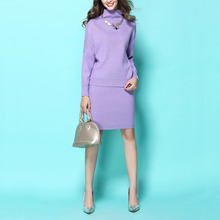 Spring Autumn Winter Women's Long Sleeve Turtleneck Knit Sweater + Pencil Skirt Twinset Elegant Loose Office Ladies' Skirt Suits(China)
