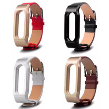 Buy Stock Genuine Leather Strap Xiaomi Mi Band 2 Watch Band Metal Frame MiBand 2 Version Smart Bracelet + Tool for $11.58 in AliExpress store