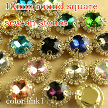 15pcs 10mm round square Flatback  Craft sew-on button  crystal  with rhinestone cup chain gold metal  diy wedding making