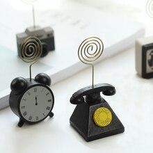 4pcs creative cute simple retro wood camera phone desktop message folder business card holder