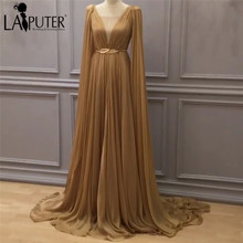 robe de soiree Sheer V-neck A-line Sexy Evening Dress Chiffon Floor Length Gowns Evening Party Long Gown Saree Prom Dresses 2017