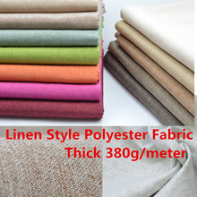 Thick Linen Style Polyester Fabric Curtain Cushion,Table Sofa Upholstery Fabric Material  Composite Flannelette Back 380g/Mter