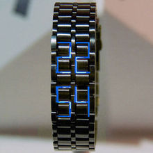 Creative Unique Black/Silver Digital Lava Wrist Watch Business Man Watches Iron Metal Blue LED Full Metal Samurai Gifts(China)