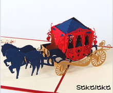 Creative 3D carriage wedding greeting card custom handmade wedding wishes cards wedding gift