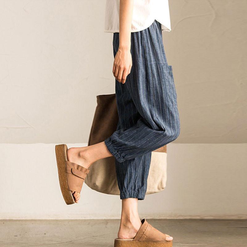 2018 SCHMICKER Women Casual Work Office High Elastic Waist Pockets Striped Baggy Harem Pants Turnip Trousers Wide Leg Pantalon 8