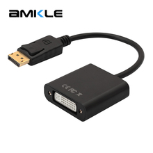 Amkle DP to DVI Adapter Cable DisplayPort to DVI Adapter Converter Male to Female Support 1080P for Monitor Projector PC Display(China)