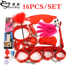Black Wolf 16PCS/Set New Leather bondage Set Restraints Adult Games Sex Toys for Couples Woman Slave Game SM Sexy Erotic Toys(China)