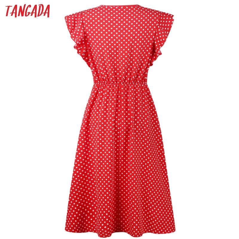 HTB1XOrXDYSYBuNjSspfq6AZCpXaG - Tangada polka dot dress for women office midi dress 80s 2018 vintage cute A-line dress red blue ruffle sleeve vestidos AON08