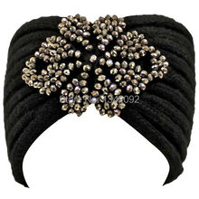 NEW ARRIVAL Luxury Black Beautiful Thick Handmade Knit Winter Headband Beaded Crochet Headwrap Hairband