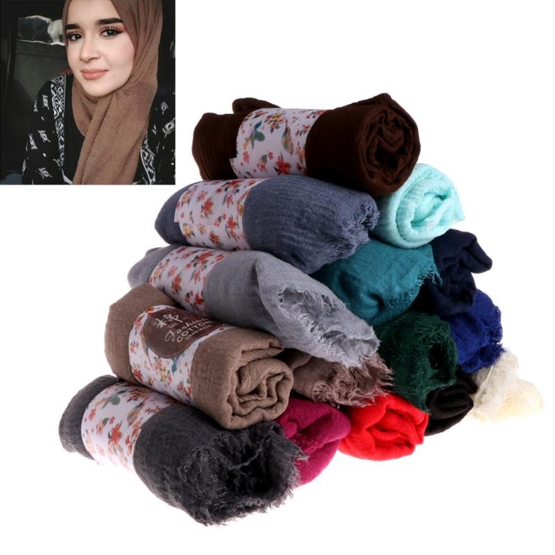 Women Crinkle Cloud Hijab Scarf Shawl Muslim Long Shawl Stole Wrap 3