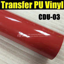 Premium quality heat transfer PU film,fabric transfer pu vinyl film with size:50X100CM/LOT CDU-03 RED COLOR