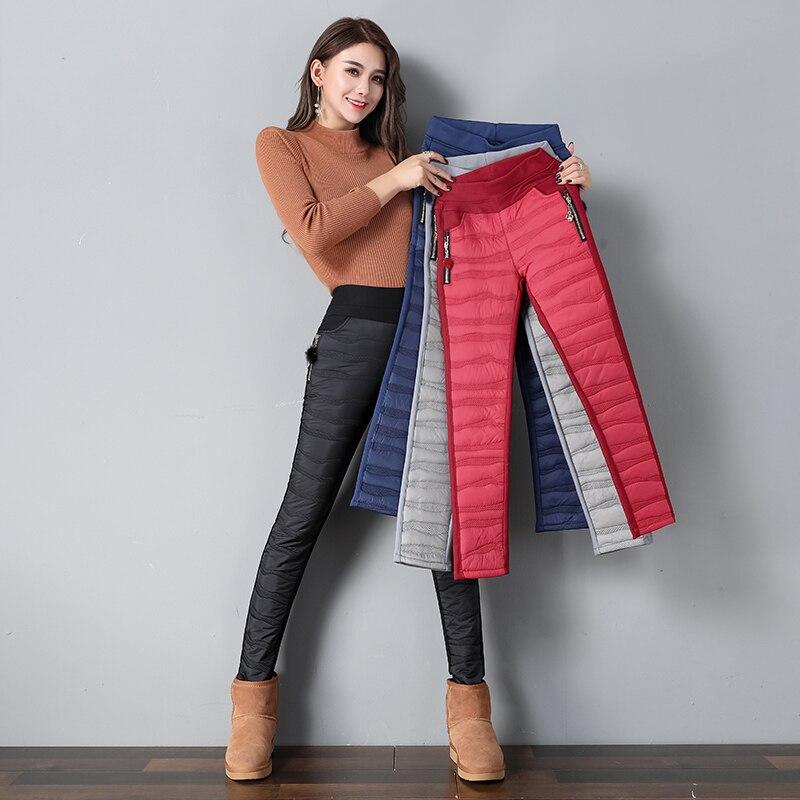 7f310828ec4 2018 New Women Down Pants Winter High Waist Long Trousers Casual Pencil Pant  Autumn Female Plus Size Solid Slim Elastic leggings