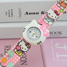 Hello Kitty Slap Watch Girls Cartoon kids Watch Silicone Rubber Wrist Watch Children Christmas gift