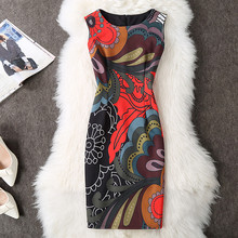 New Fashion Elegant 2017 Floral Print Slim Summer Sexy Pencil Dress Party Women Casual Vestidos Evening Knee Length Vintage Robe