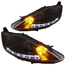for Ford Fiesta Projector Headlights Low beam with bi-xenon lens fit 2008-2012 year with LED Line light
