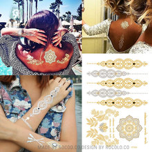 2015 hot sell body art painting tattoo stickers Metal gold silver temporary flash tattoo Disposable indians tattoos tatoo VT334