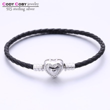 Real Black Leather Chain Bracelet With 925 Sterling Silver Heart Clasp Fit Original Charm For Men Women berloque pulsera Jewery(China)