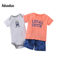 Clearance bebes baby boy clothes sets newborn baby kids summer shorts boys bodysuit set 3pcs drop shipping letter pattern