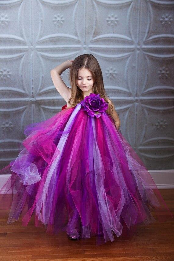2T-8Y Shades Of Purple Tutu Dress Girl Flower Dress Princess Baby Girl Party Dress For Birthday Photo Wedding Festival T16<br><br>Aliexpress
