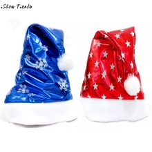 2PCS Christmas Party Santa Hat Red And Blue Cap for Santa Claus Costume Newest(China)