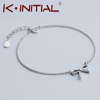 Kinitial 1Pcs 2017 Hot Knot Pendant Chain Bracelet Bangle Fashion 925 Silver Bowknot Bracelets Charm Cuff Jewelry For Woman Gift