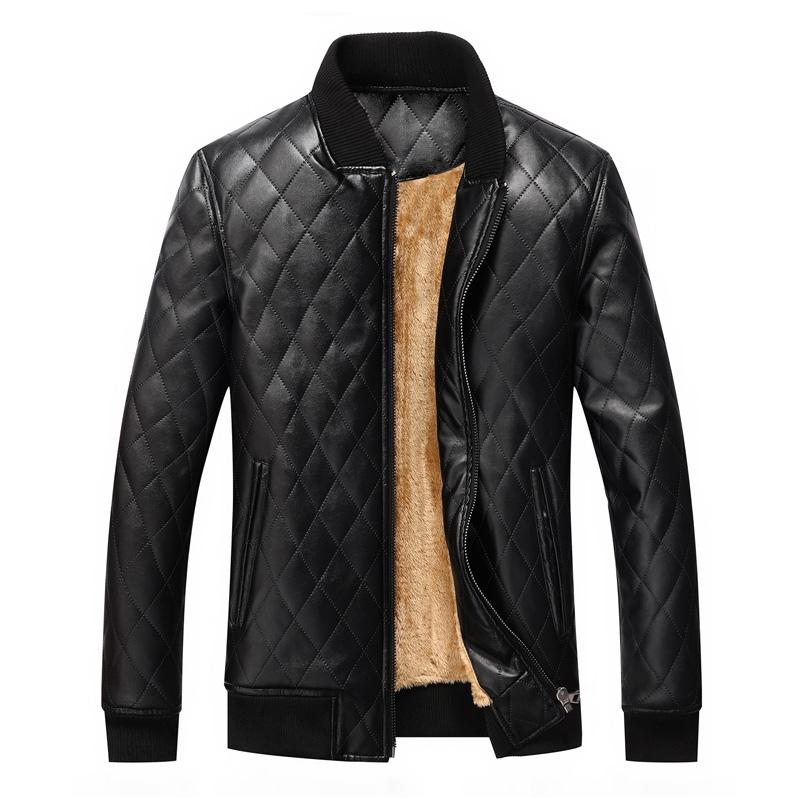 mens leather winter bomber jacket fur black