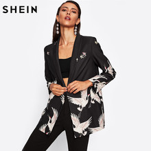 SHEIN Crane Bird Print Longline Boxy Blazer Woman Autumn Blazer Black Shawl Collar Single Button Boyfriend Blazer(China)