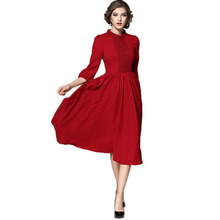 Buy High runway chiffon dresses Vintage turtleneck red midi office dress womens clothing vestidos mujer Summer party dresses for $26.09 in AliExpress store