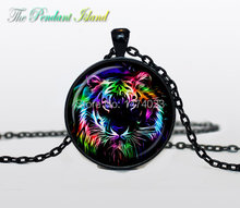 Tiger Necklace, Tiger Pendant tiger jewelry Pendant Art gift for men for women black multicolor