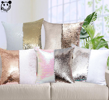 PEIYUAN Magical Throw Pillowcase Color Changing Reversible Pillow Case Pillow Cover DIY Mermaid White Gold Sequin Cushion Cover(China)