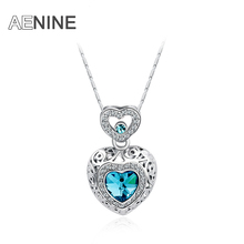 AENINE Classic Blue CZ Hearts Pendant Necklace Rose Gold Color hand Made Fashion Women Jewelry Crystal L20306407693a