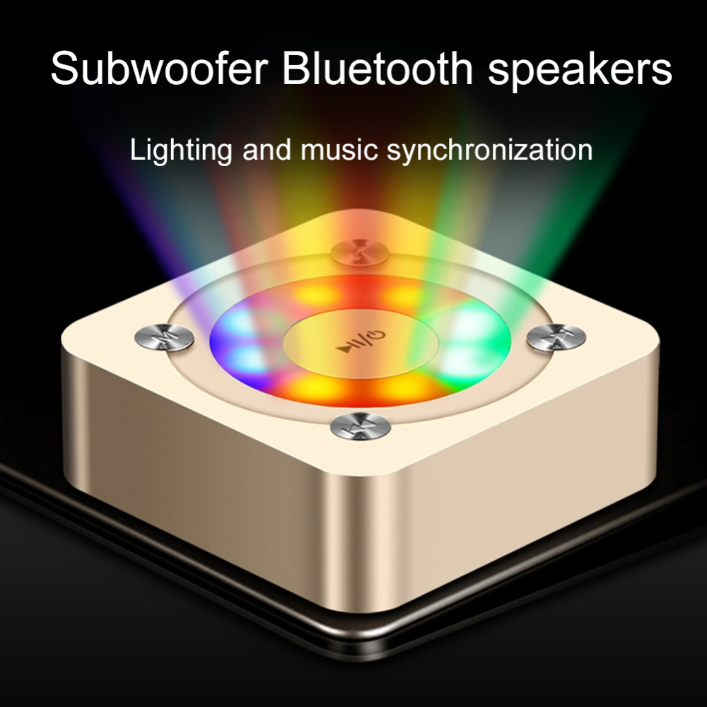 Wireless Bluetooth Speaker Portable Stereo  Subwoofer Outdoor LED Marquee Card-pluged Speaker 7-Color Lighting Wireless Speaker