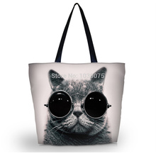 Glasses Cat Shopping Tote Utility Portable Shoulder Bag,beach bag Zip Handle Bag Multifunctional Eco-friendly Reusable(China)