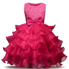 Nacolleo Girls Summer Dress 4 Colors kids Beaded Tutu Princess Party Wedding Clothes Children 3-10Yrs Vestidos Children Costume