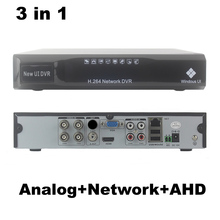 4CH AHD DVR NVR 3 in1 Hybrid Analog+Network+AHD 4 channel Audio Video H.264 P2P CCTV Security Recorder(China)