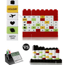 DIY Office Desk Accessories Time Decor Puzzle Calendar Building Block Educational Toy Creative Hot Sale