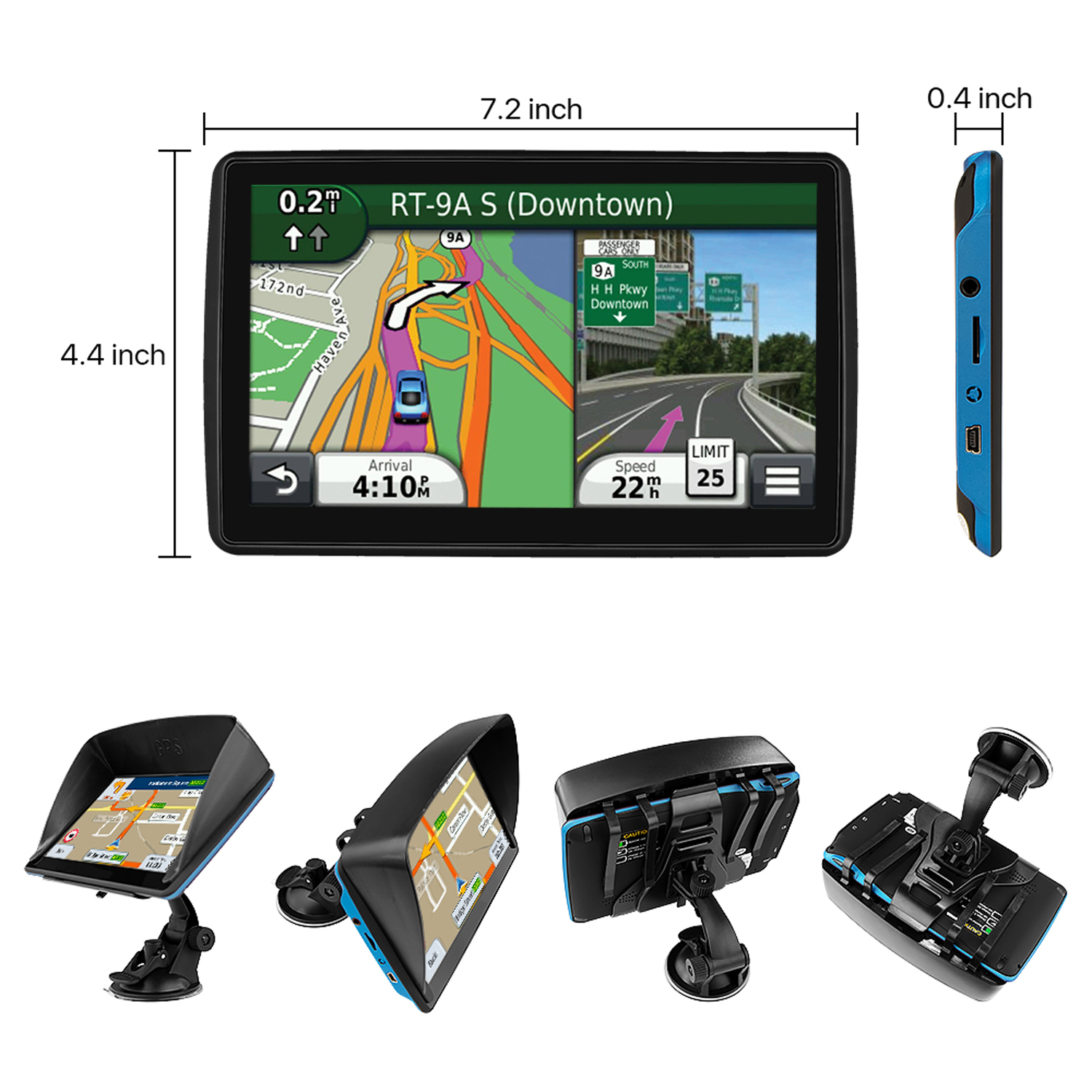 Australia GPS Navigator 128M 8GB FM with Lifetime Map Update for Cars Trucks Vehicles 7 Inch Touch Screen GPS Navigation Maps System Device International
