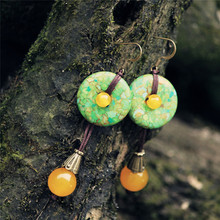 Beautiful Fashion Summer Jewelry Unique Colored Tur quoise Button Hanging Yellow Chalcedony Earrings Original Ethnic Jewelry(China)
