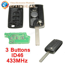 Brand New 433mhz 3 Buttons Auto Car Remote Key Shell Case Cover Replacement With Battery ID46 Chip For PEUGEOT CITROEN BERLINGO