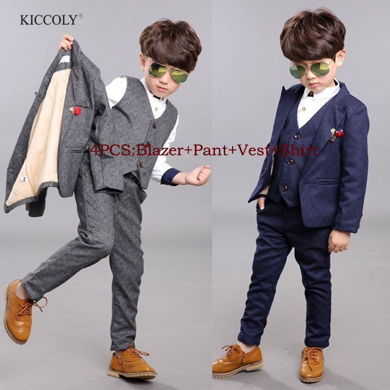 2016 New Boys Formal Suits for Weddings Brand England Style 2-10T Children Formal Party Tuxedos Boys Formal Suits<br>