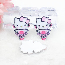 Kawaii cartoon flat back planar resin Hello Kitty Figurine Ballet Home decoration craft DIY phone shell  hair accessories