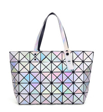 Candy Color Hologram Holographic PVC Shoulder Bag Handbag Shopping Toe Hot Sale Bao Bao Diamond Lattice Geometric Foldable Bag