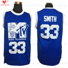 New Mens 2017  #33 Will Smith Jersey Music Television First Annual Rock N'Jock B-Ball Jam 1991 Men Blue Basketball Jersey Shirts