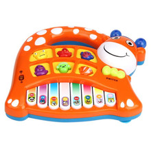 Infant Playing Musical Instrument Baby Kids Musical Educational Animal Farm Piano Developmental Music Toy teclado musical drum(China)